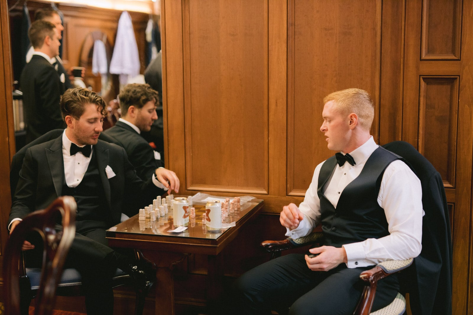Grooms ment getting ready at Pillar & Post