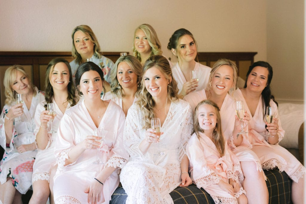 Bride & Bridesmaids in hotel room at Pillar & Post