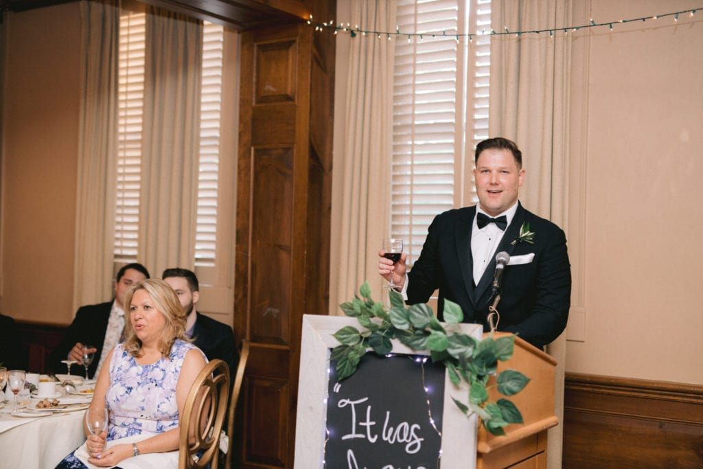 Best man giving toast at Vintage Hotel Wedding