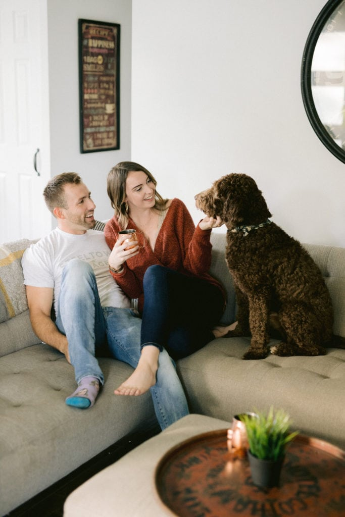 In Home Engagement Session with Golden Doodle