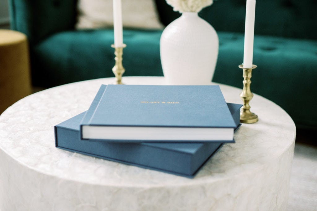 Wedding Albums on table