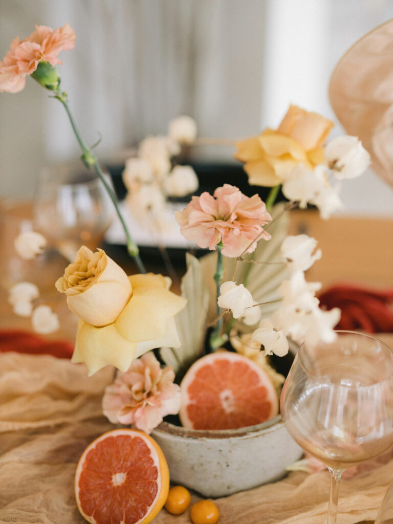 Fresh Florals With Dried Fruit Wedding Floral Inspo
